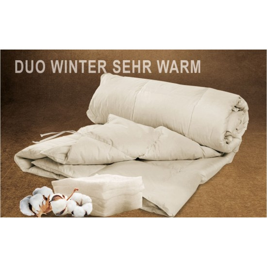 "Baumwolle / Leinen Bettdecke ""Winter DUO"" - kbA - 135x200 cm"
